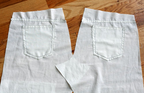 Backs of practice jeans with pockets and yokes