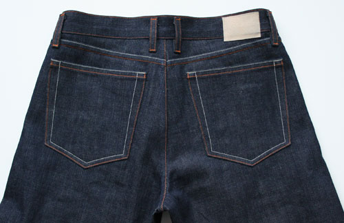 top half, back, selvdege denim jeans