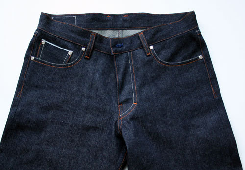 top half, front selvedge denim jeans