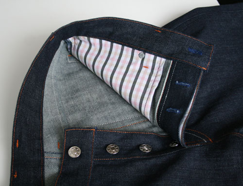 inside pocket, fly, selvedge denim jeans