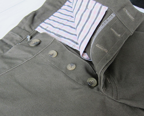 Men's chinos, button fly