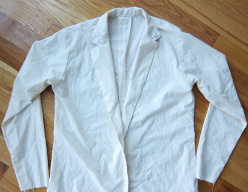 men's jacket pattern test in muslin