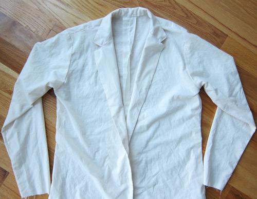 men's jacket pattern test in muslin