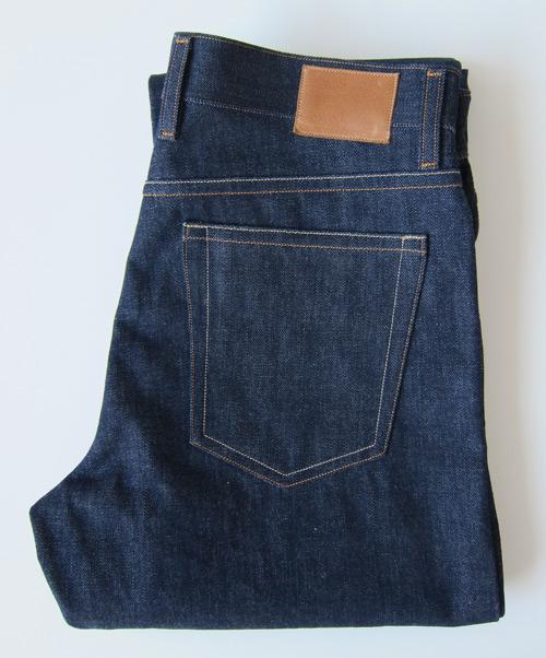 folded selvedge denim jeans