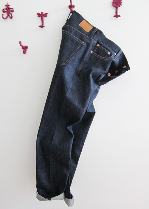 hanging selvedge denim jeans