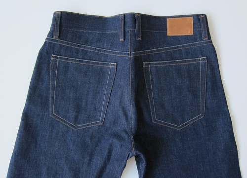 selvedge denim jeans back, yoke and pockets