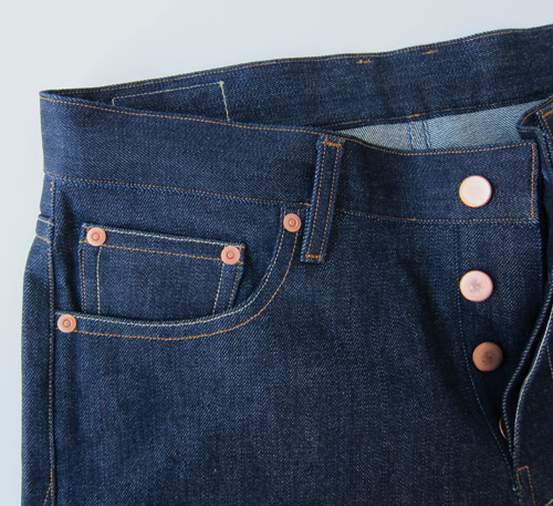 selvedge denim jeans front with button fly