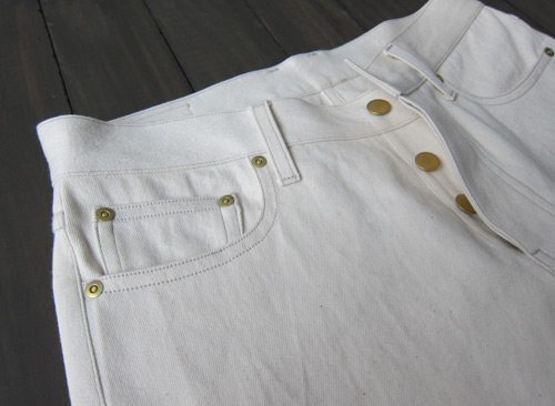 cream colored natural selvedge denim button fly
