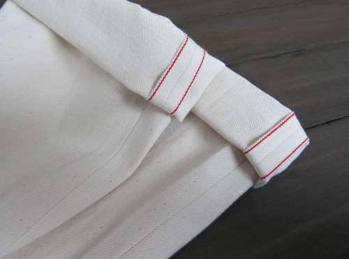 cream colored natural selvedge denim cuffs