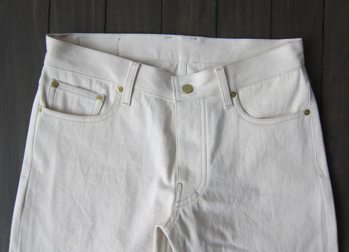 cream colored natural selvedge denim front
