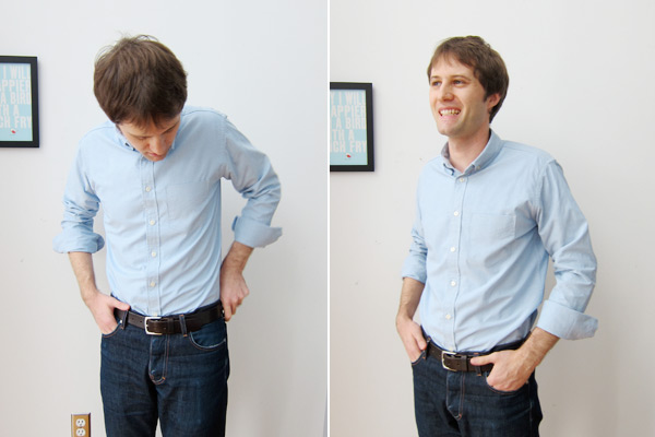 blue oxford cloth button down shirt fit picture