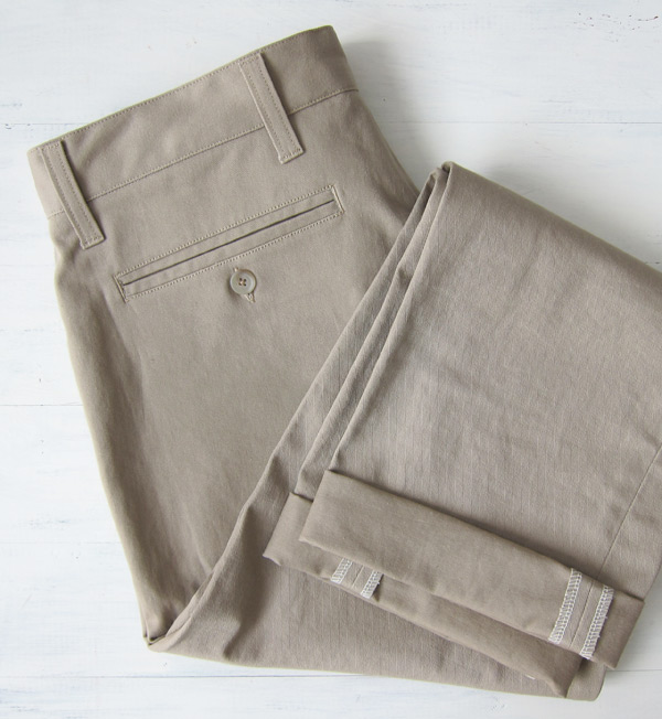 khaki chinos folded back