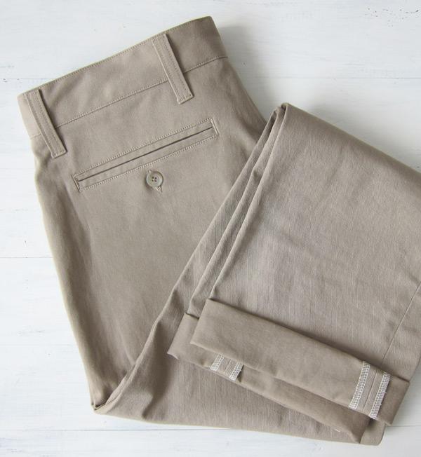 khaki chinos folded back