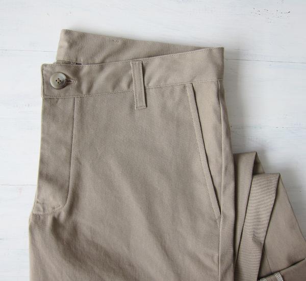 khaki chinos folded front
