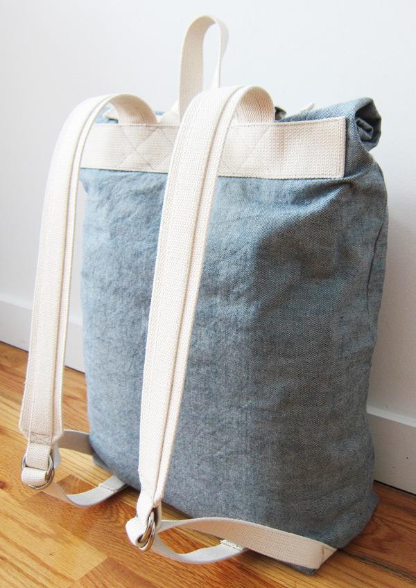 reverse denim backpack