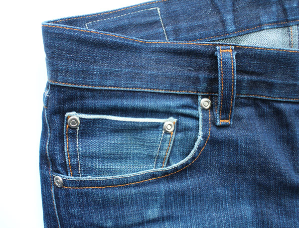 broken in, worn, selvedge denim coin pocket