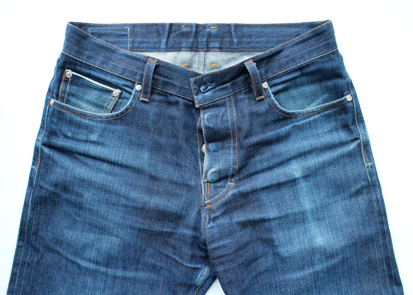 worn, broken in, selvedge denim front