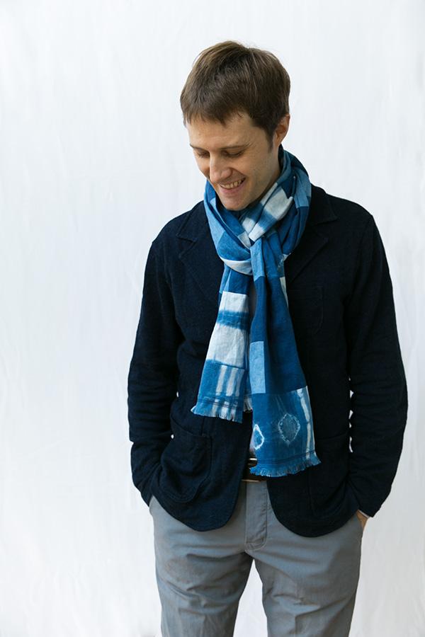 patchwork indigo scarf