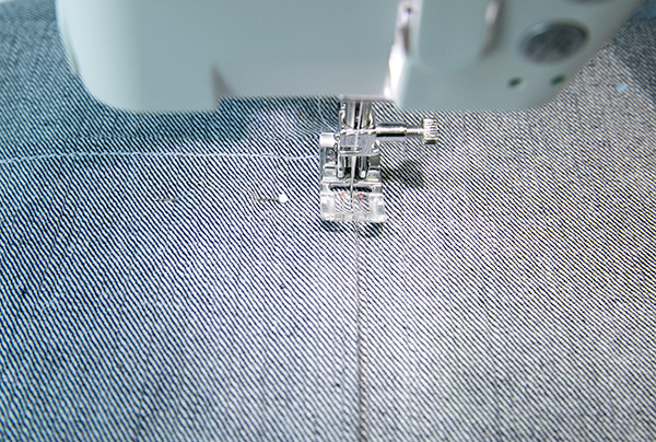 edge stitching pocket in place