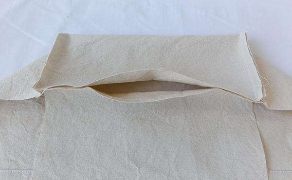 lining back bottom seam, open