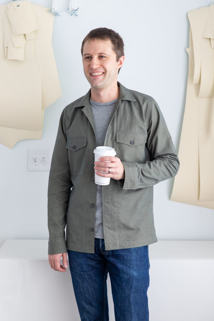 overshirt with coffee